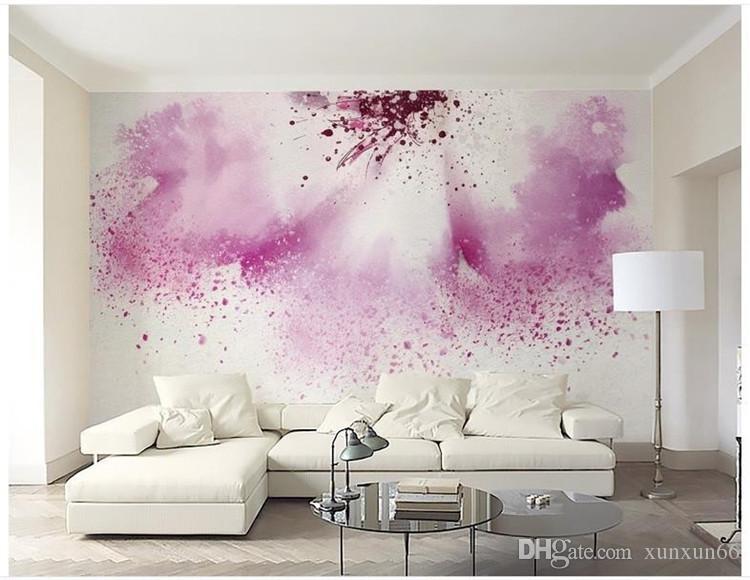 3d wallpaper custom 3d murals wallpaper for flowers TV setting wall powder purple watercolor abstract painting flowers wallpaper