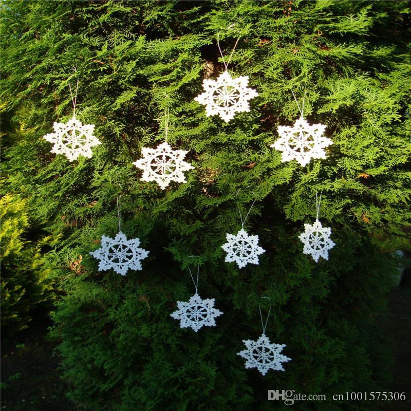 Árbol de navidad Holiday Table decoración del hogar ornamento copos de nieve Idea de regalo Crochet Snowflake ornamento blanco copos de nieve hechos a mano decoración