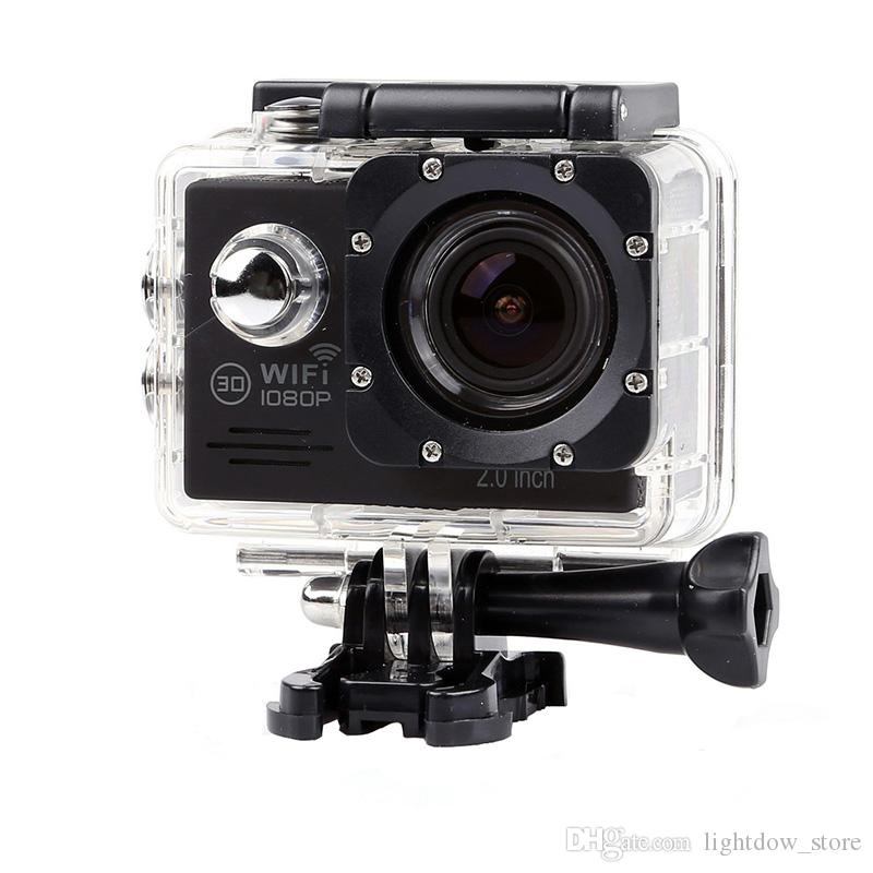 Lightdow 1080P HD Sports Camera Action Cameras+Wifi App Remote Control 30m Waterproof 2.0 Inch Screen Bicycle skate Camcoder Sport DV