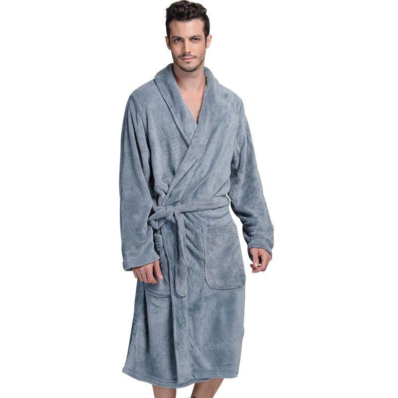 Thick Flannel Batas de baño para hombres Caballeros Homewear Male Sleepwear Lounges Pijamas de baño Winter Autumn
