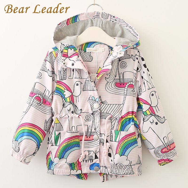Líder do urso Meninas Casacos e Jaquetas Crianças 2018 Outono Marca Crianças Para Meninas Roupas Dos Desenhos Animados Impressão Outerwear Com Capuz Para 3-7A