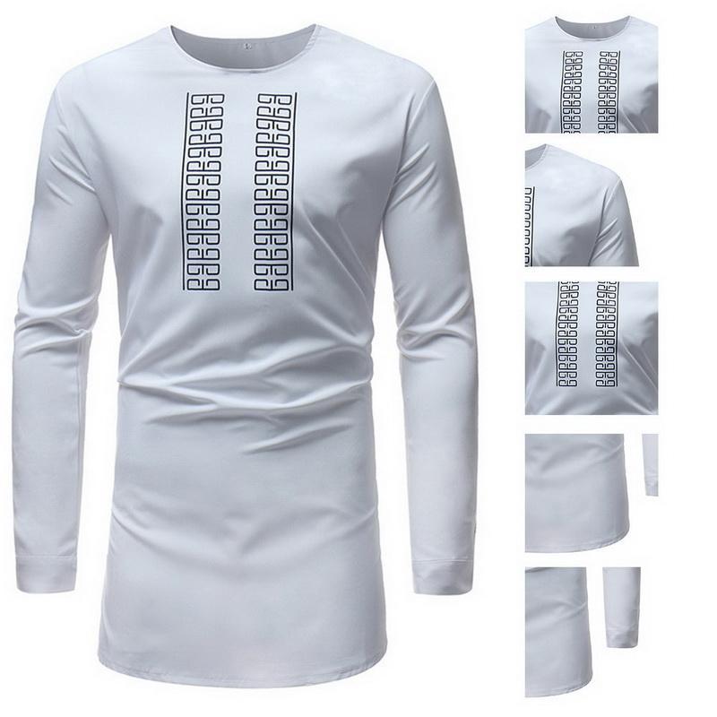 NIBESSER Homens Africano Dashiki O pescoço Maxi T Camisa Tradicional Africano Impressão de Manga Longa Tops 2018 homens Longo camiseta