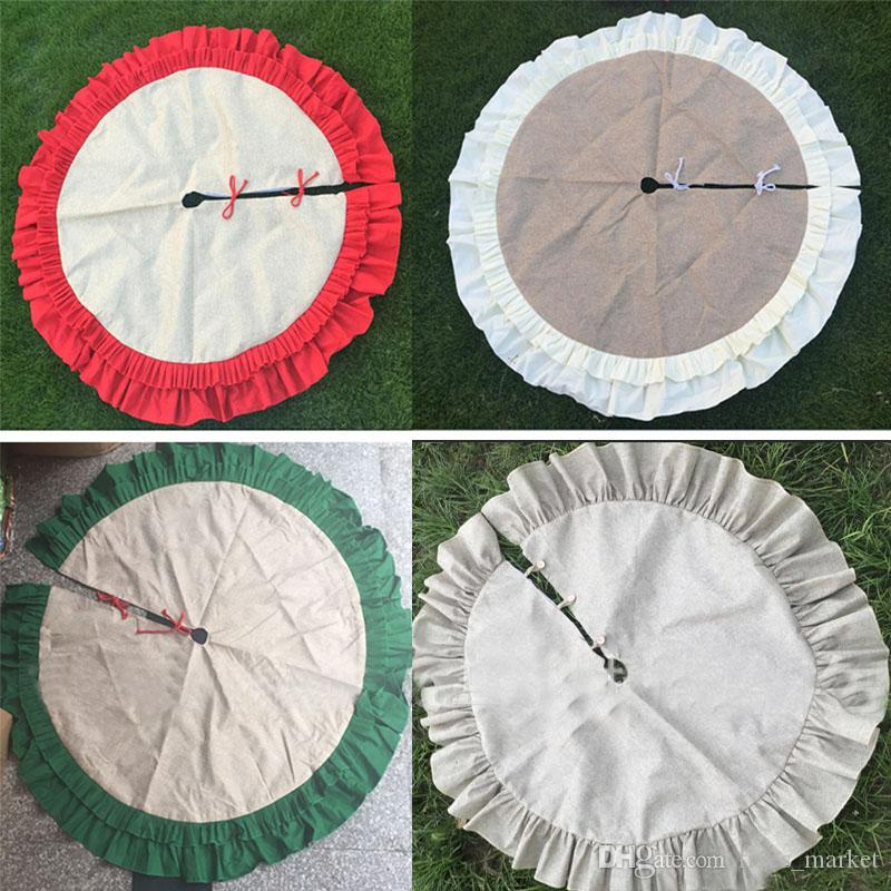 Christmas Tree Skirt Decoration Ornament With Lace Wrinkle Canvas Linen Burlap Xmas Home Decor 3 Colors DHL SHIp FHH7-1498