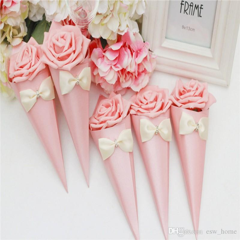 colorful roses ice cream Flowers Cone shape sweet Candy box packaging candy bags wedding candy box free shipping