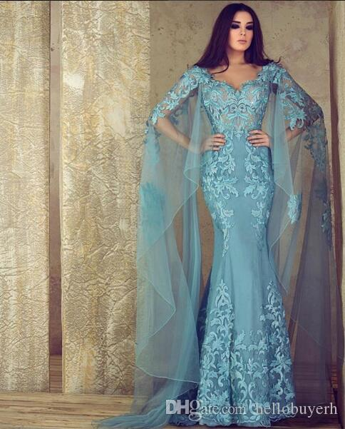 Синее кружевное вечернее платье русалки Синяя вышивка сексуальное африканское платье с длинным рукавом Милая Вечерние платья плюс размер 2019