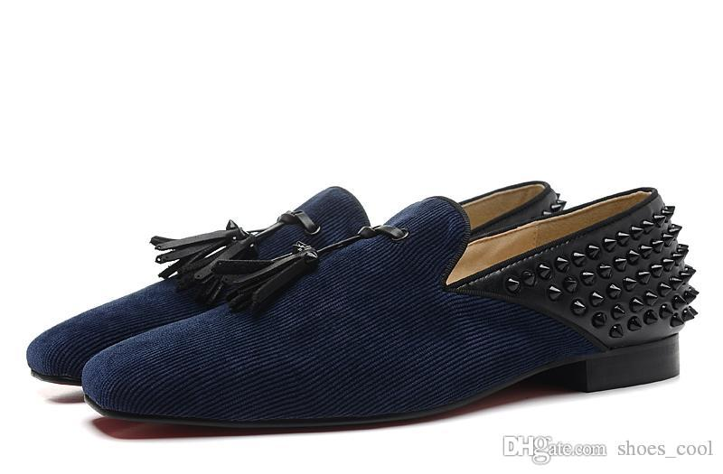 Men's Women's Blue Flock Black Leather Tassel With Spikes Square Toe Fashion Loafers, Gentleman Brand Comfortable Dress Shoes Size