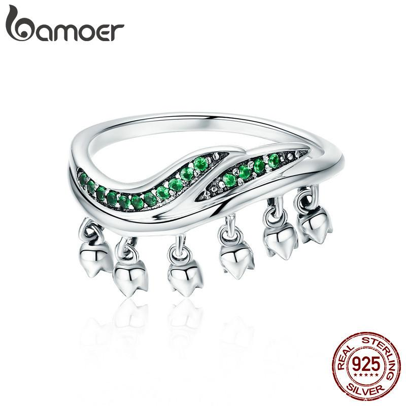 BAMOER Authentic 100% 925 Sterling Silver Tender Tree Leaves Flower Buds Dangle Rings for Women Fine Silver Jewelry Gift SCR301 D18111306