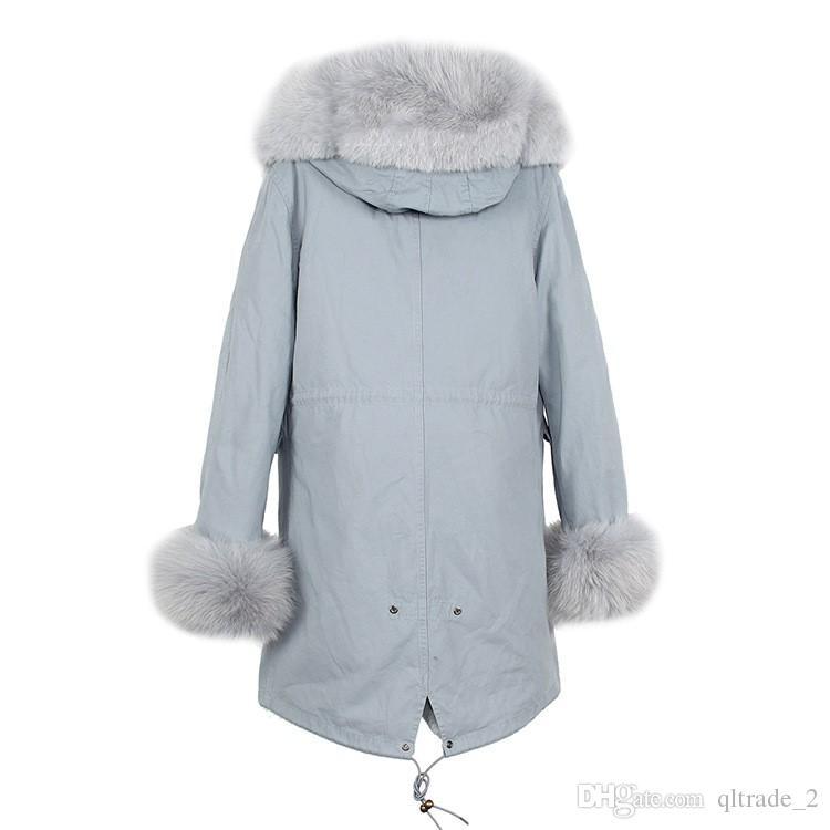 Szlachetny jazzevar szary szopa futro wykończenia kobiety śnieżna kurtka szary lis i królik futro podszewka jasnoniebieskie długie parki