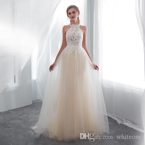 compre vestidos de novia 2018 imagen real de cuello alto blanco