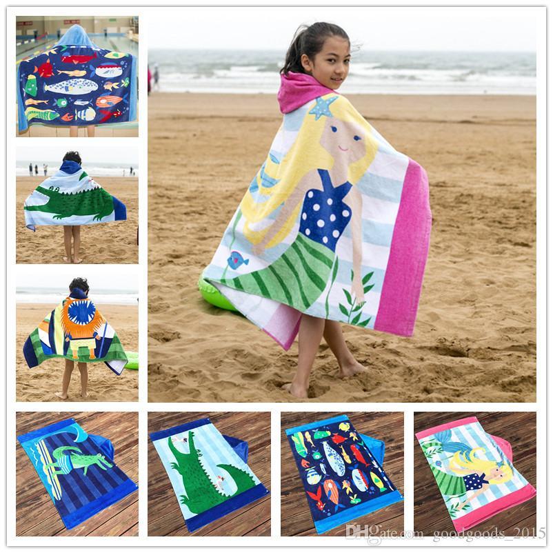 Cotton Mermaid Shark Pattern Beach Towel Baby Children Hooded Bath Towel Baby Boys Girls Cartoon Bath Soft Towel for Baby c656