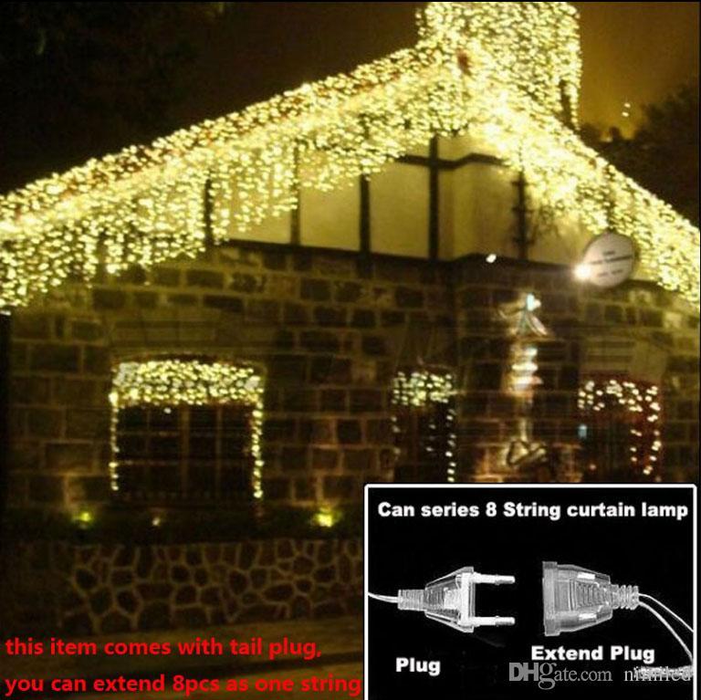Curtain Icicle Led Stringhe luci di Natale 4 m Droop 0.4-0.6 m Decorazione esterna 220 V 110 V luce vacanza a led Capodanno giardino matrimonio