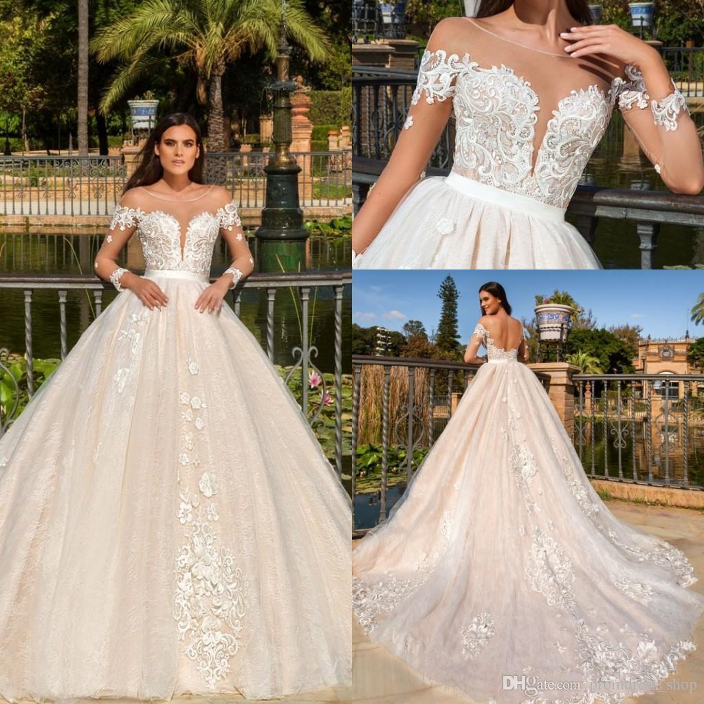 2019 Свадебные платья Vestios De Novia с длинными рукавами-Line Свадебные платья с открытой спиной и элегантными кружевными аппликациями
