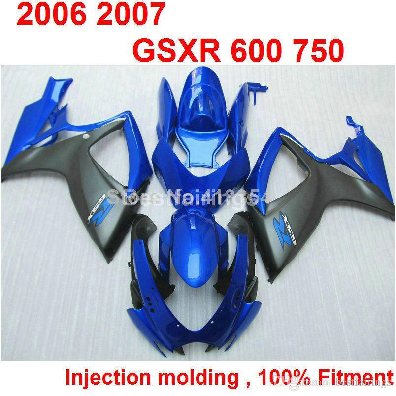 Kit de carenagem para SUZUKI GSXR600 GSXR750 2006 2007 azul preto GSXR 600 750 06 07 XC23