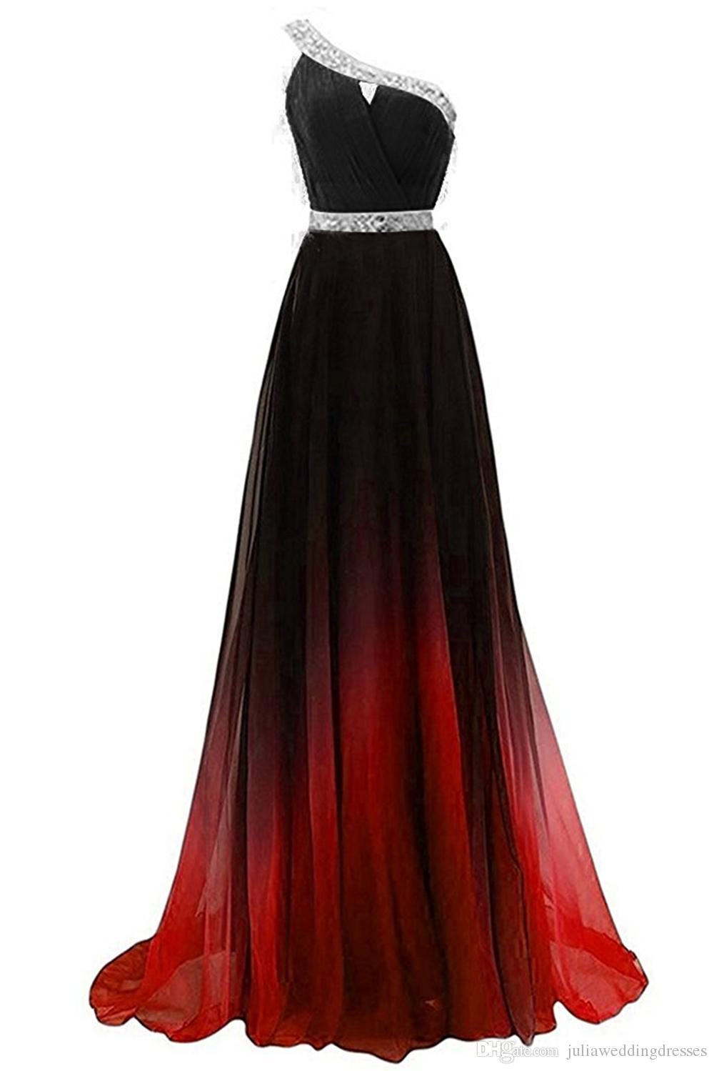 2021 Sexy One-Shoulder Long Gradient Evening Prom Dresses Chiffon A Line Beaded Plus Size Floor-Length Ombre Formal Party Gown QC1246