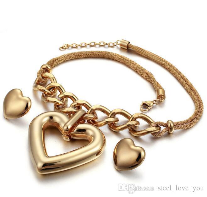 Lager heißen Verkauf hochwertigen Edelstahl-koreanische Frauen arbeiten Ohrring Halsketten-Satz-Dame Gold 18K Exquisite Partei Schmuck-Sets