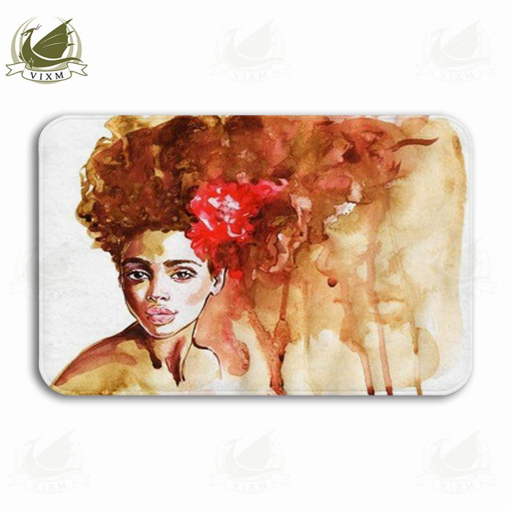 Vixm Watercolor Beauty African Woman Painting Fashion Welcome Door Mat Rugs Flannel Anti-slip Entrance Indoor Kitchen Bath Carpet