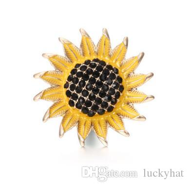20pcs 18mm botón a presión noosa botón de girasol con encanto del rhinestone diy joyería hecha a mano en forma de pulsera colgante encanto agradable venta caliente