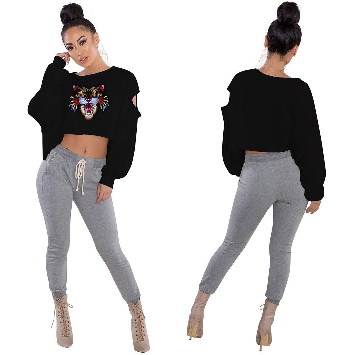 Tiger Head Crop Top T Shirts Printed Women Long Sleeve Round Neck Short Pullover Tee Shirts 7 Styles FFA168 50PCS