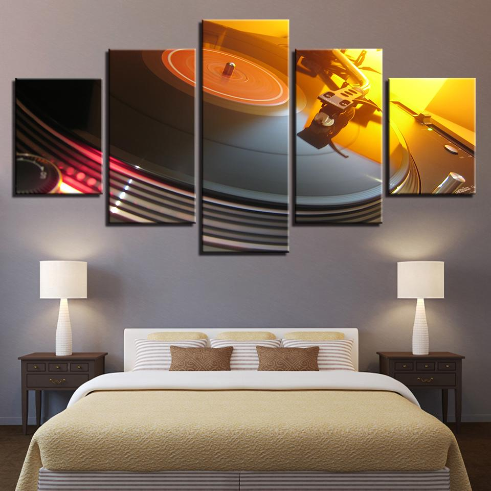 Music DJ Console Turntables,5 Pieces Home Decor HD Printed Modern Art Painting on Canvas (Unframed/Framed)