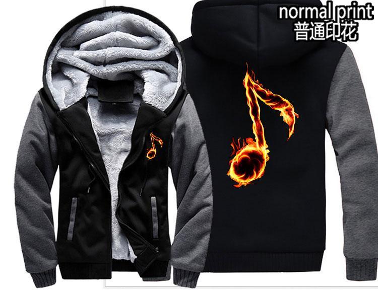 New fashion music flame note Men women Warm Thick Coat Jacket winter luminous fantasy glow in dark velvet Sweatshirt top Hoodie