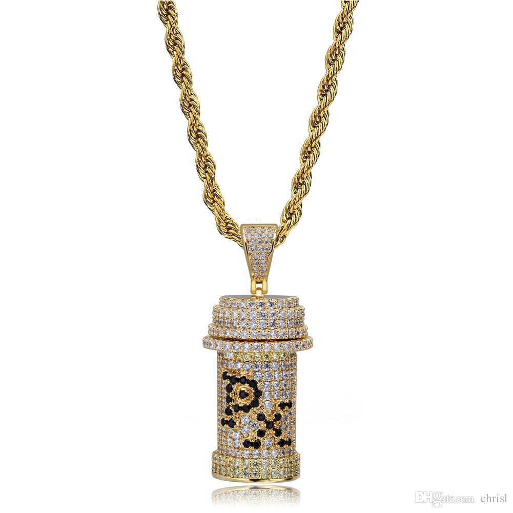 Золото Серебро Iced Out Съемный Бутылочку Медицины Ожерелье Micro Pave Кубический Циркон Мужчины Хип-Хоп Ювелирные Изделия Подарок