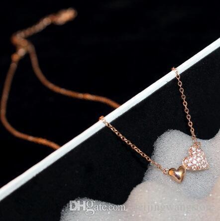 Großhandel Doppel Liebes Herz Wrapped Halsketten-Anhänger für Frauen Pfirsich-Halskette Kragen Schmuck Valentinstag Geschenk