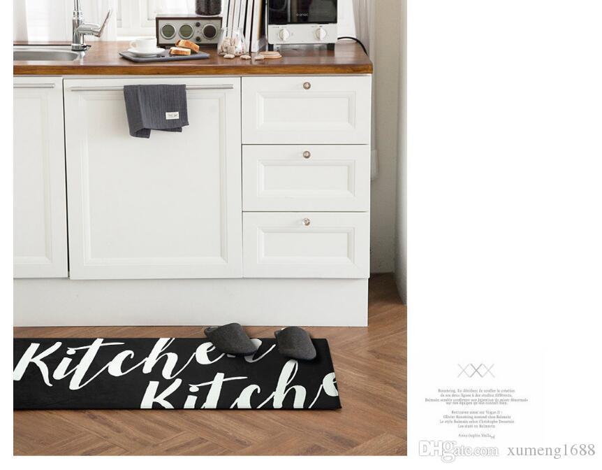 45 * 118cm Tapis de sol noir long paillasson Tapis de cuisine moderne anti-glisse Tapis - Salon Balcon Salle de bain