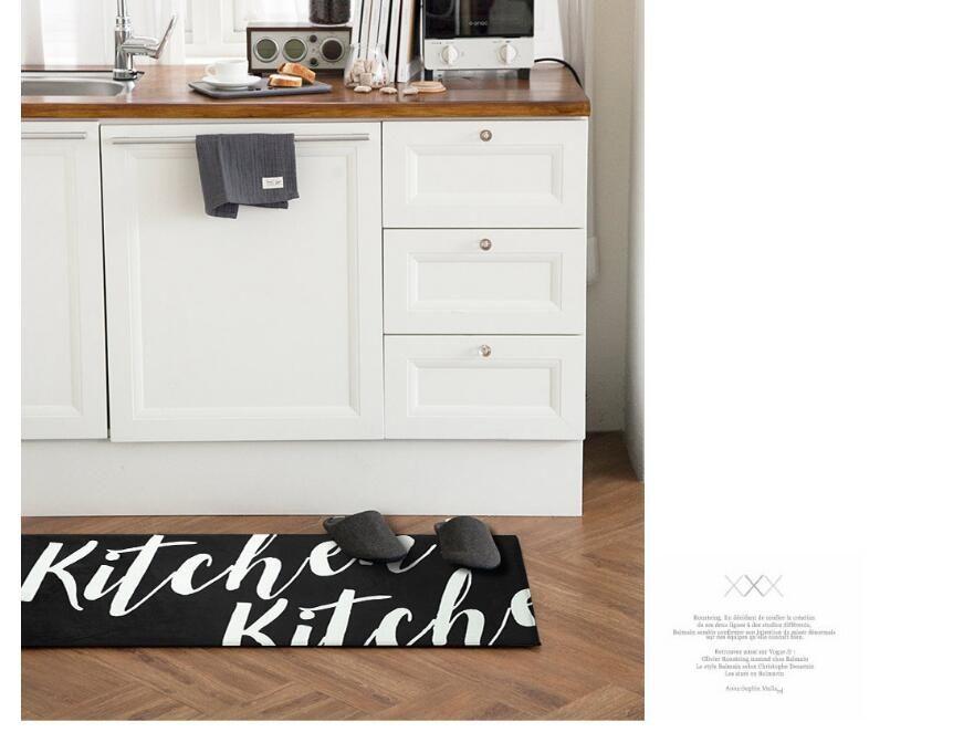 45 * 118 cm Preto Longo Capacho Tapete Anti-slip Tapetes de Cozinha Moderna Tapetes - Sala de estar Varanda Banheiro Quarto Tapete