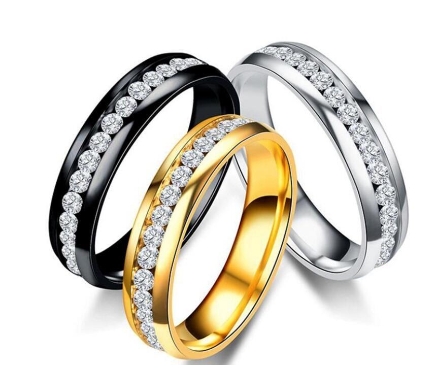 Anéis de Moda de luxo Em Aço Inoxidável Anéis De Casamento De Cristal Para As Mulheres Homens de Alta Qualidade Banhado A Ouro mens anel de jóias de prata cor de ouro