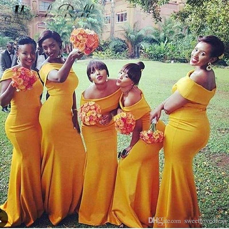 Nigeria Giallo Off spalla Mermaid Abiti da damigella d'onore lunga increspato Sweep Train Plus Size Long Maid Of Gowns Vestidos