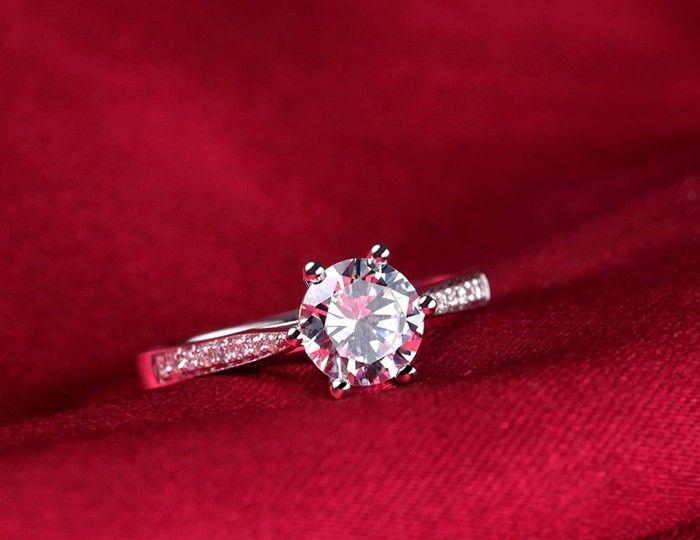 Ergu Jewelry 91% de réduction! Classique 1.5ct Coeurs et flèches CZ Diamant Bagues de fiançailles pour les femmes