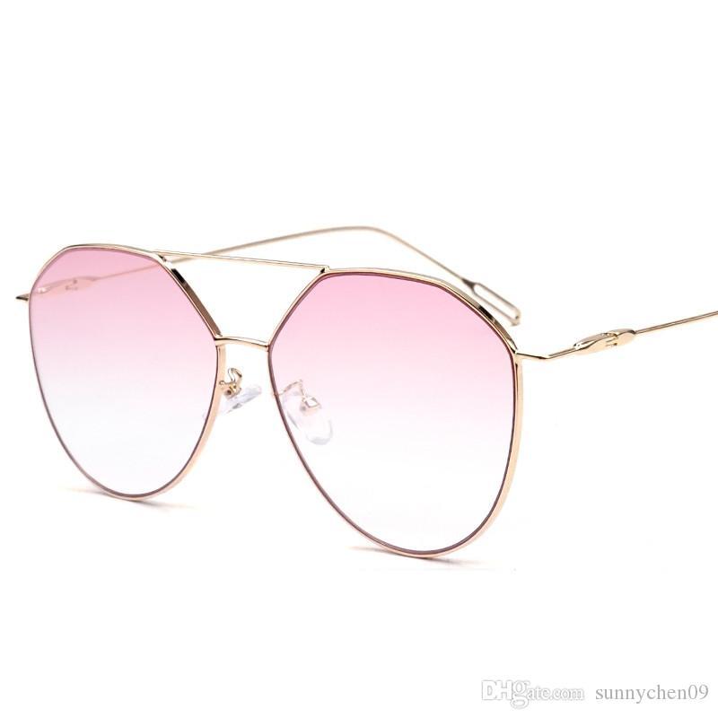 1 unids al por mayor - Gafas de sol de diseñador de marca para hombres, mujeres y lentes metálicas de alta calidad.