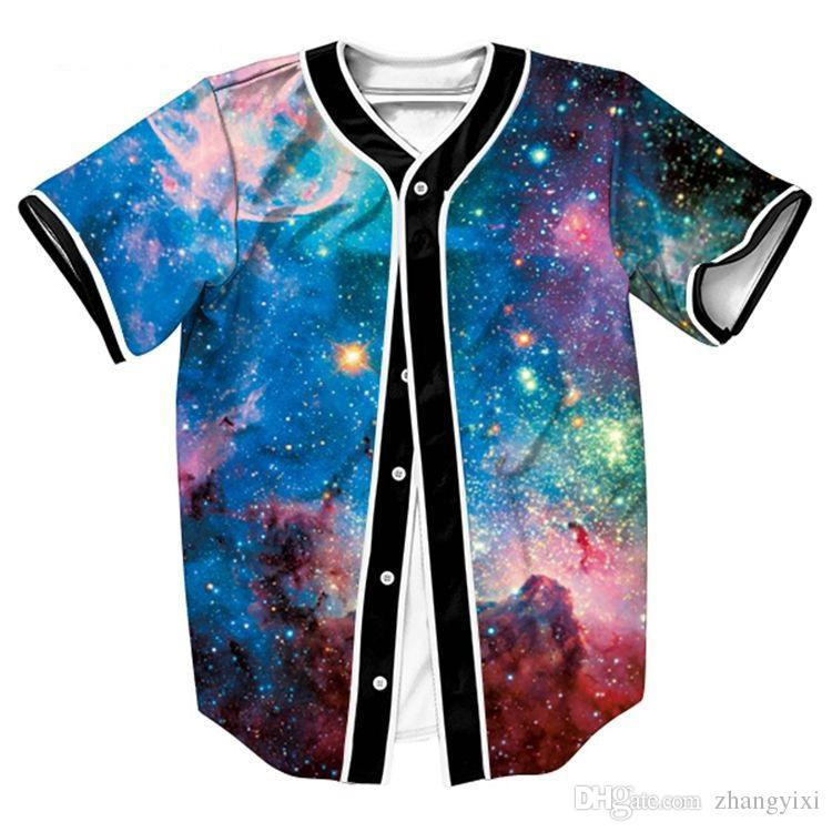 Wholesale Free Shipping 3D Baseball Jersey Space Digital Galaxy Print Men T Shirt Casual Hip Hop Tee Shirt