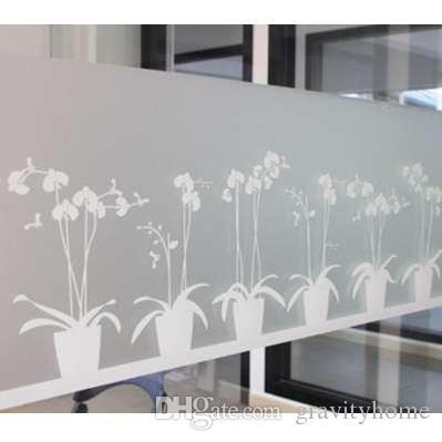 Film de fenêtre non-adhésif Longue durée de bricolage rapide 45 x 200 cm Facilement enlever la décoration d'orchidée papillon gravé pour le rejet UV