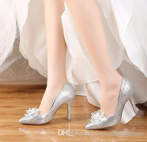 Rhinestone Zapatos de tacón alto Mujer Bombas Punta estrecha Mujer Cristal Zapatos de boda Zapatos Mujer Slip-on Zapatos de vestir de novia