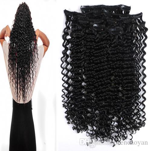Clip di capelli umani remy per afro donne colore naturale nero 8 pezzi 100 grammi clip in estensioni dei capelli brasiliani ricci naturali