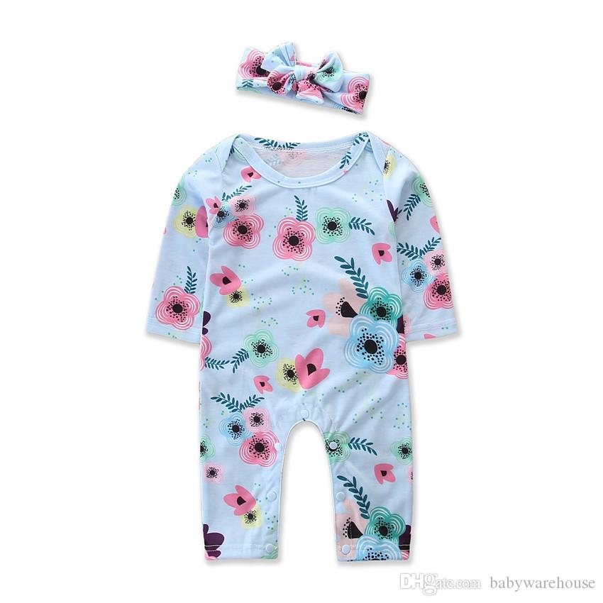 Newborn Baby Girl Clothes 2018 Brand New Infant Baby Clothing Spring Autumn Long-sleeved Floral Jumpsuit Romper Headband 2PCS Baby Clothes