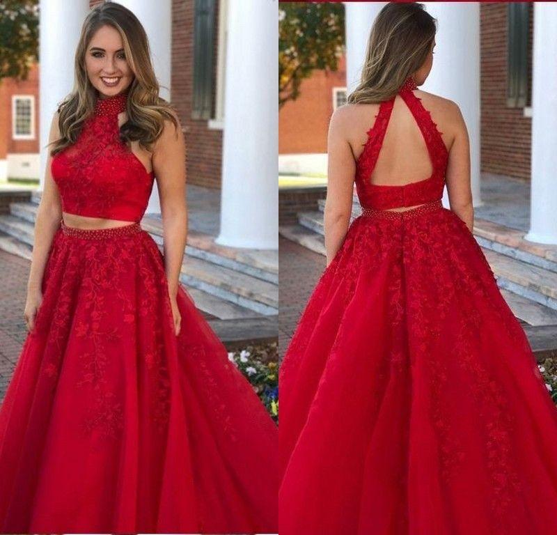 Compre Vestidos De Noche Largos Rojos Elegantes Vestidos De Noche De Dos Piezas De Encaje Vestidos De Noche De Fiesta Formal Sin Respaldo De Una Línea
