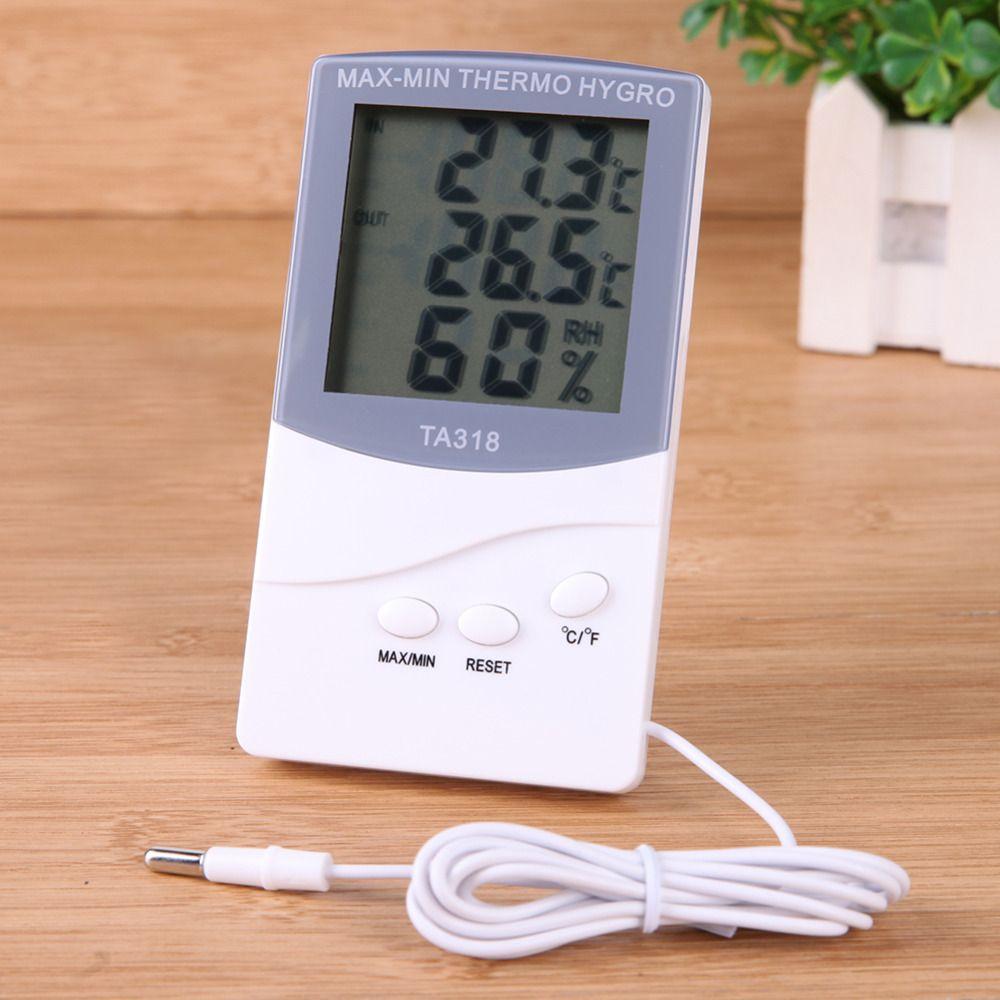 داخلي ميزان الحرارة في الهواء الطلق شاشة LCD الرقمية الرطوبة الرطوبة متر درجة الحرارة متر مع محطة الطقس الاستشعار TA-318