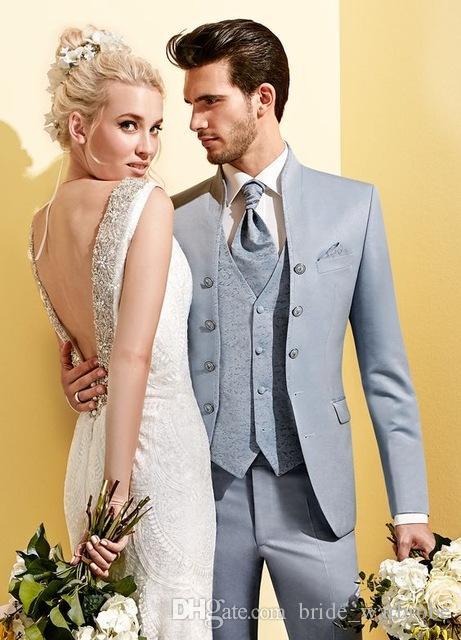 Hochzeit Mens Anzüge 3Stücke Partei-Abschlussball-Bräutigam-Smoking Groomsmen nach Maß 2018 Neueste Anzüge für Männer Stilvolle (Jacket + Pant + Vest)