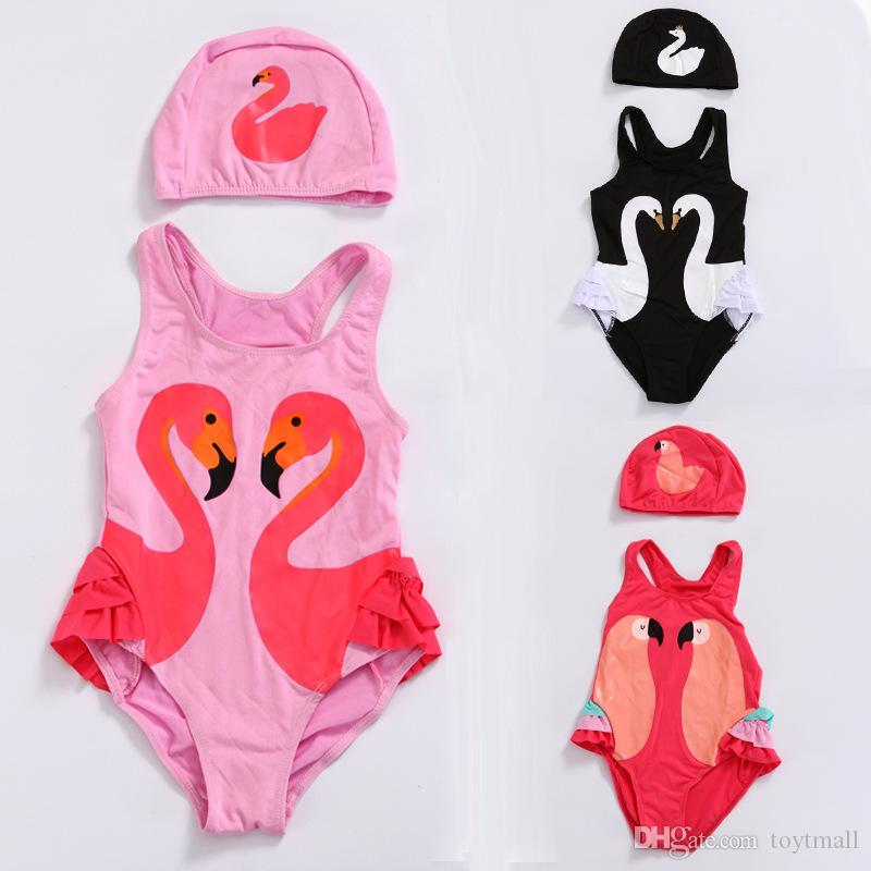 NEW Girls Parrot Pink Ruffle Swimsuit Bathing Suit 2T 3T 4T 5T 6