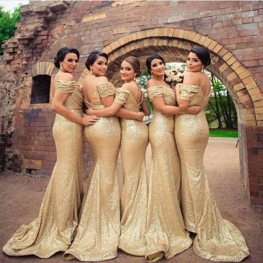 샴페인 골드 스팽글의 들러리 드레스 국가 스타일 숄더 비치 오프 주니어 웨딩 파티 게스트 가운 명예 복장의 복장 저렴한