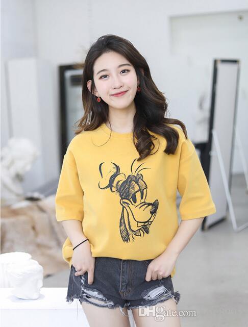 2018 summer Korean version of the new cartoon printing short-sleeved T-shirt ladies loose shirt women's clothing