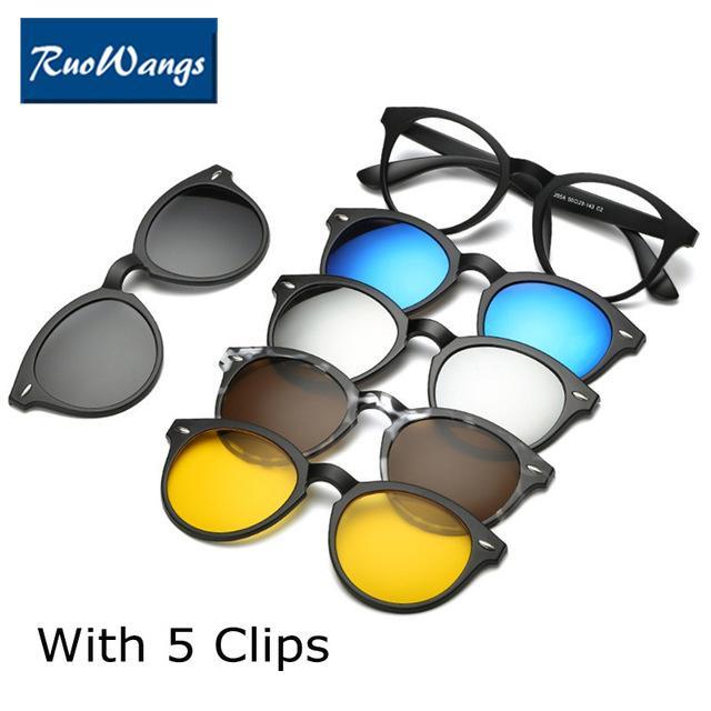 RuoWangs Optik Gözlük Çerçevesi Kadın Erkek 5 Üzerinde Klip Güneş Gözlüğü Polarize Manyetik Gözlük kadın Miyopi Gözlük Için