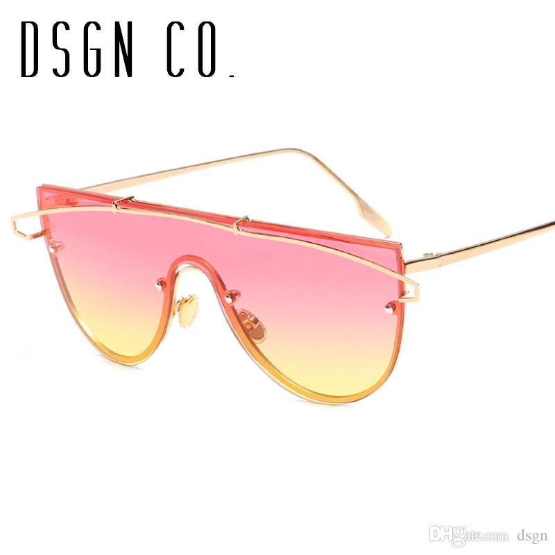 DSGN CO. 2018 New Flat Top Lunettes de soleil pour les femmes semi Round Lunettes de soleil 8 Couleur Mode femme Lunettes de soleil UV400