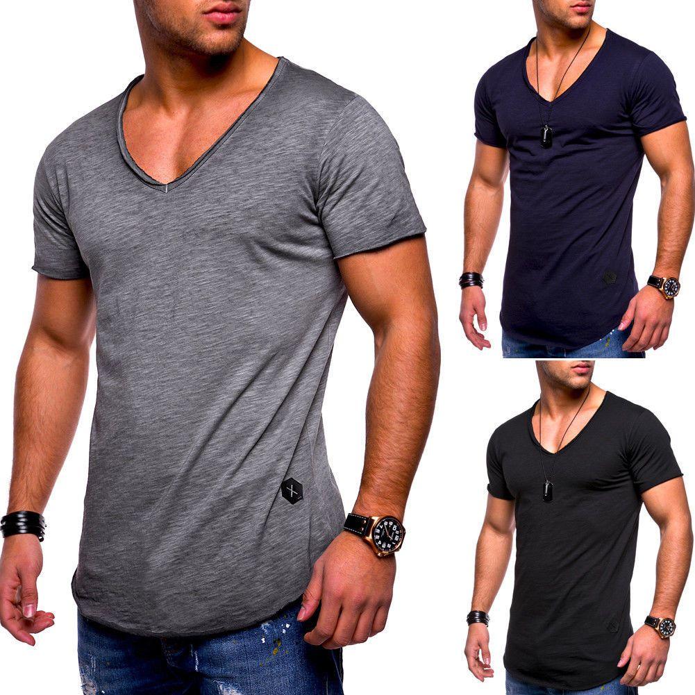 Los hombres de la nueva manera ocasional del verano T camisa con cuello en V High Street sólido de color muscular elegante camiseta de algodón camiseta del hombre