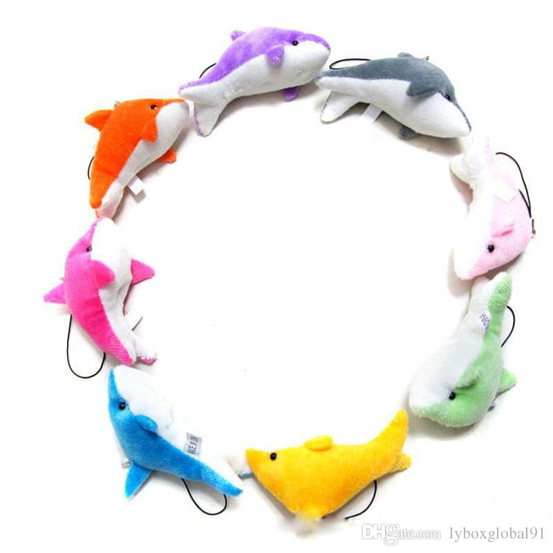 New Lovely Mixed Color Mini Cute Dolphin Charms Kids Plush Toys Home Party Pendants Gift Decorations Free Shipping