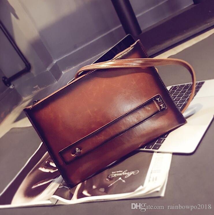 Factory direct brand men bags retro crazy horse leather hand bag fashion contrast color wrist bag large leather casual shoulder bag