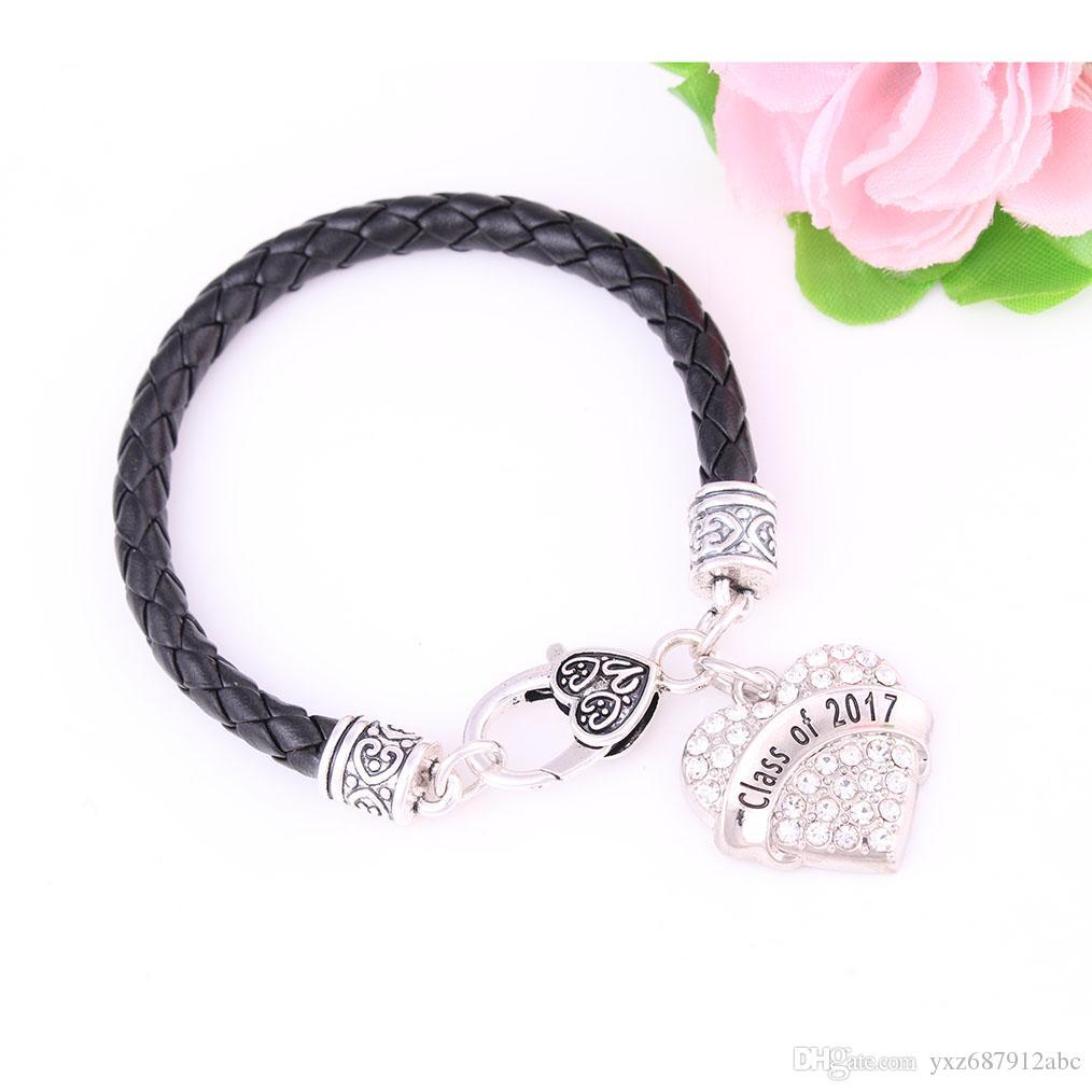 Classe di moda del rodio placcato 2017 di fascino con borchie scintillanti di cristallo cuore gioielli braccialetto regalo senior