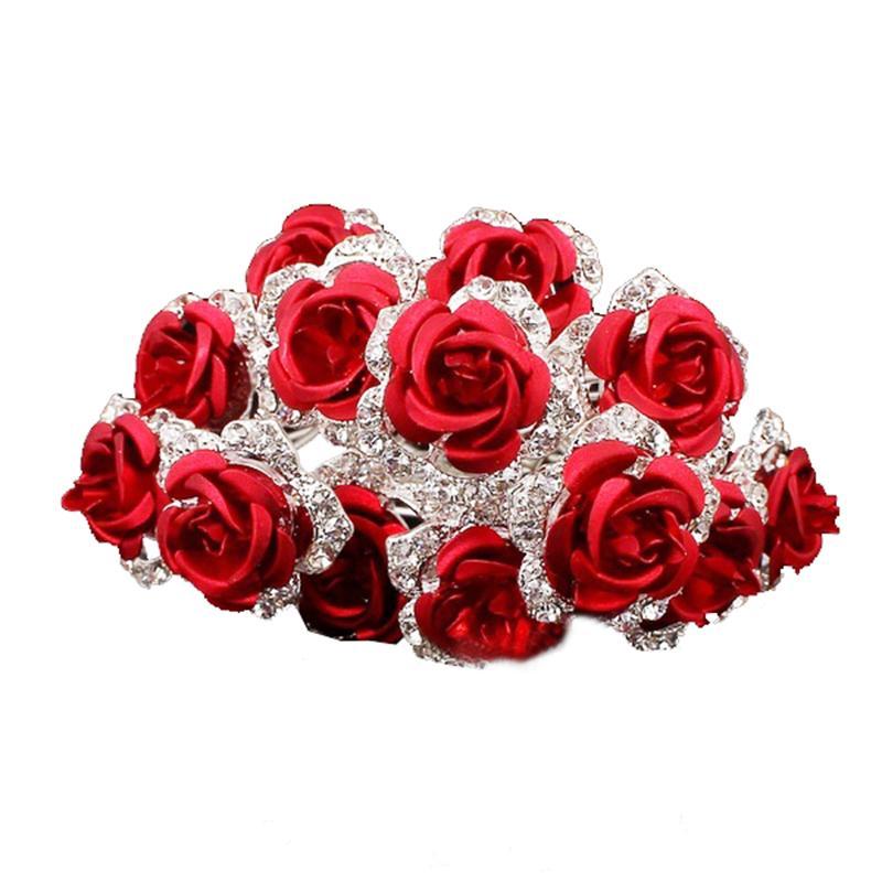 20Pcs Wedding Bridal Rose Flower Crystal Diamante Hair Pins Clips Accessories UK